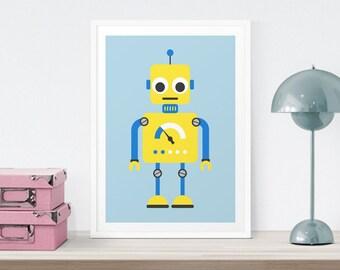 Baby Room Robot Print, Nursery Art, Nursery Decor, Baby art, Nursery Wall Art, Kids Wall Art, Wall Decor, Kids Room