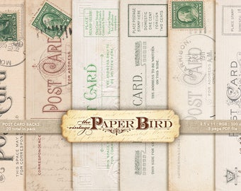 "Vintage Post Card Backs : 20 pieces | 8.5""x11"", 300 dpi PDF | vintage ephemera | digital collage art"