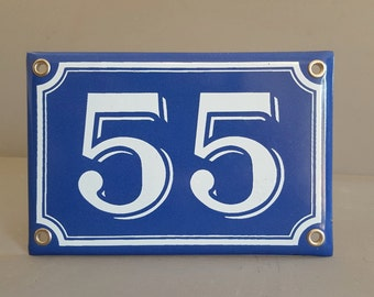 Vintage French enamel HOUSE NUMBER SIGN 55 Blue and white