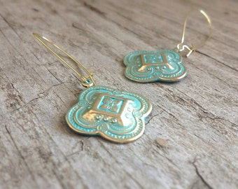 CLEARANCE, Moroccan Quatrefoil Earrings, Patina Earrings, Bridesmaid Earrings, Bohemian Earrings, Bohemian Jewelry, 26mm Charm - LAST PAIR