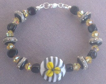 Bracelet: pebbles and small stones - Lampwork Glass Beads