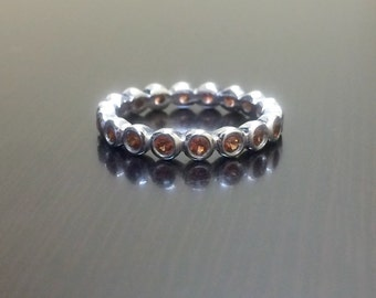 Garnet Eternity Band - Garnet Engagement Band - Eternity Band - Garnet Band - Garnet Wedding Band - Garnet Ring - Silver Band - Fine Jewelry