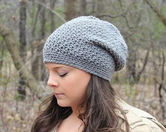 Grey Slouchy Hat, Grey Slouchy Beanie, Grey Beanie, Grey Hat, Grey Winter Hat, Grey Crochet Hat, Grey Women's Hat, THE DENALI