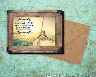 Rustic Wood Frame Save the Dates, personalized, unique wedding, wood frame, rustic wedding, save the date magnet, save the date + Envelopes