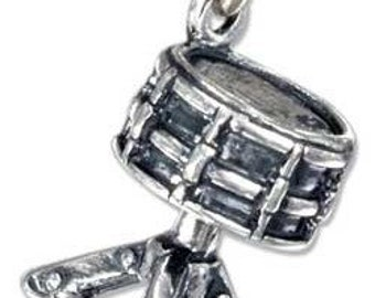 Drum Sterling Silver Pendant on Black Cord