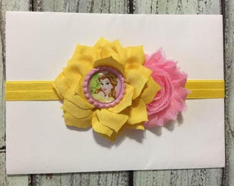 Beauty and The Beast Headband ,Yellow and Pink Baby Headband , Belle Headband ,Baby Headband ,Belle Hair Bow ,Princess Baby Headband