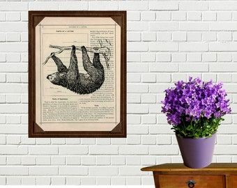 Sloth  Art Printed On Antique Book Page Upcycled House Decor Recycled Books Decoration