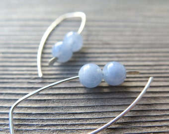 blue aquamarine earrings in ecofriendly sterling silver wire. March birthstone. modern aquamarine jewelry.
