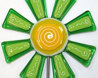 Glassworks Northwest - Brilliant Green Flower Stake - Fused Glass Garden Art