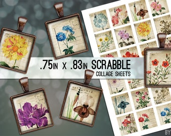 Digital Collage Sheet Vintage Postcards Flowers Scrabble Tile .75x.83 Images 4x6 and 8.5x11 Download Sheets for Glass Resin Pendants
