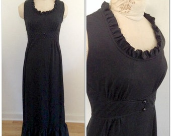 1970s Black Ruffle Maxi Vintage Dress // medium, large 6 8 10 long gown seventies