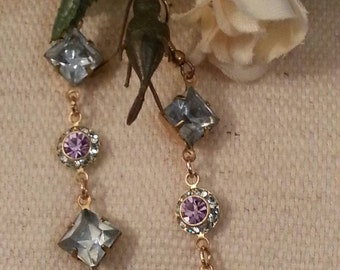 Romantic Dangle Earrings, Vintage Crystal Connectors, Blues, Lavender and Black, 3 Pairs Available, Purchase 2 and Get 3rd FREE