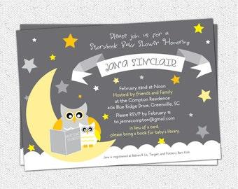 Baby Shower Invitation, Printable, Story Book Owl, Moon and Stars, Gray Grey Yellow, Gender Neutral, Modern DIY Digital File