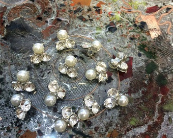 """Ea. Gorgeous  Pearls and Crystal Buttons 3/4"""" , Imported"""