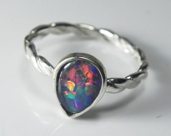 Black Opal Ring Opal - Ring Twist Band - Tiny Opal Ring - Opal Engagement Ring - Black Opal Triplet - Australian Opal Sterling Silver Ring