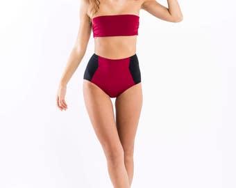 Highwaisted bikini set - Olga - Bloody Red & Black - Reversible bandeau top
