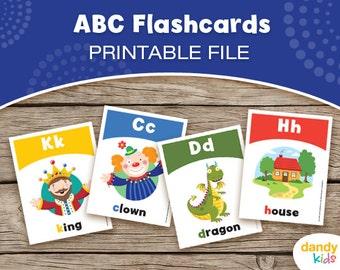 Alphabet Flashcards / Printable Flashcards / ABC Set of 26 / Educational Flashcards