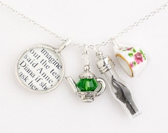 Tea with Anne of Green Gables Necklace - Literary Necklace - Literary Jewelry - Best Friend Gifts - Book Lover Gifts