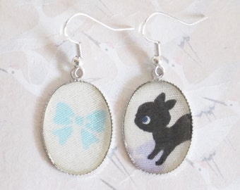 black cat earrings and blue node in Japanese fabrics, cat jewelry, cat pendant , cat earrings, jewelery with animals, kitty
