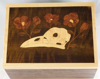 Bird Skull and Flowers Marquetry Hinged Box OOAK