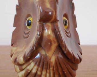 Alabaster Carved Owl Sculpture