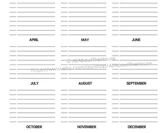 """Important Dates Printable Special Planner 2017 2018 day planner daily planner Agenda Rainbow PDF Editable Household Binder 8.5 x11"""" letter"""