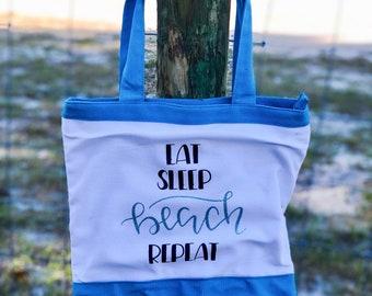 Eat,Sleep,Beach,Repeat beach bag| Beach tote| Tote bag| Personalized bag| Summer bag| Beach| Personalized beach| Beach bags| Beach bag tote