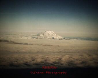 Mountain Scenery Aerial Photograph Black Vignette Blue Skies Sunset Mt Rainier Western Washington State - Above the Clouds - Fine Art
