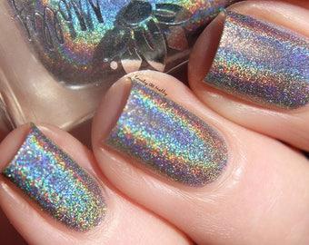 """Nail polish - """"Metamorphic""""  A grey strong holo"""