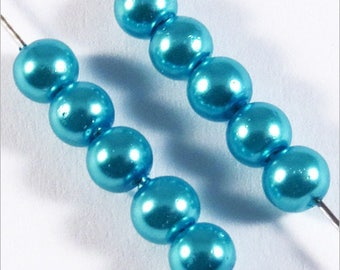 100 4mm turquoise Czech glass pearls