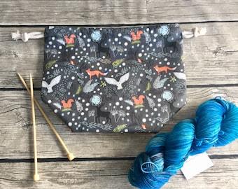 Fantastic Beasts of the Forest -- Project Bag -- Drawstring Knitting Bag -- Yarn Bag -- Crochet Bag