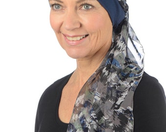 Lucia - Jersey Cotton Hat with Chiffon Scarf for Cancer, Chemo and Hair Loss
