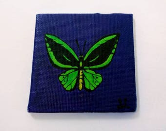 Green Mariposa Butterfly Ink Painting