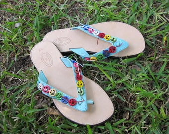 "Leather greek sandals/ flip flops / handcrafted  sandals with peace signs/ embellished leather sandals / handmade stylish sandals ""Peace"""