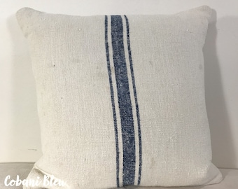 Vintage Grain Sack Pillow Cover with Striped Ticking Back