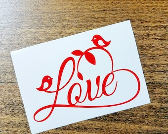 Love Decal, Custom Water Bottle, Love Birds Decal,Wedding Gift Decal, Laptop Sticker, Custom Vinyl Sticker, Personalized Decal, Car Decal