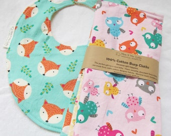 Boutique Burp Cloths and Bib Gift Set - Happy Campers, Forest Friends - Owls, Foxes and Bees