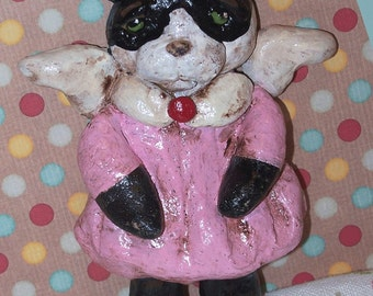 Whimsical Folk Art Kitty Cat Angel Ornament Ooak  Cookie Doll