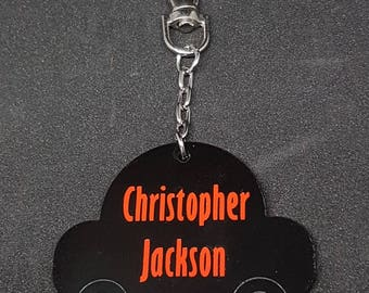 Personalised School Bag Tag Keyring,Car Shaped, Zipper pull, back to school,