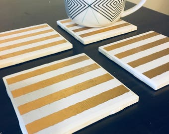 White and Gold Striped Coasters, Tile Coasters, Ceramic Coasters, Housewarming Gift, Drinkware, Striped Coasters