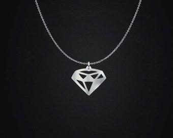Diamond Pendant Necklace - Diamond Pendant - Diamond Locket Necklace - Diamond Charm - .925 Sterling Silver Diamond Jewelry Necklace