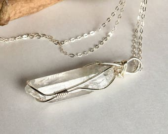 Sterling Silver Wire Wrapped Quartz Crystal Necklace