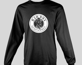 Bad Boy Records Long Sleeve T-shirt - 90's hip hop record label 200's rap r&b Puff Daddy p diddy notorious BIG Biggie Smalls Brooklyn puffy