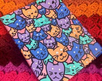 "47 Cats! Acrylic, Ink, & Swarovski Crystal Feline Frenzy Painting - 10"" x 8"" Small Original Art Piece - Bright Sparkly Kitty Lover Artwork"