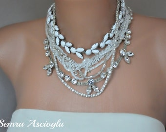 Chunky Layered Brides Necklace with Rhinestone Chain