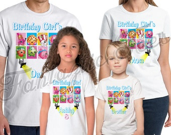 Shopkins Birthday Shirt Add Name & Age Shopkins Custom Birthday Party TShirt PJ01