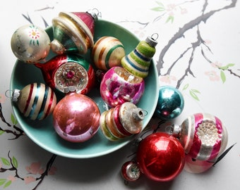 Shiny Brites and Vintage Ornaments - Set of 13 - Set B - reflector ornament