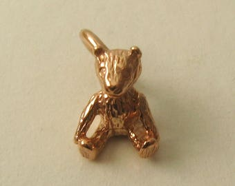 Genuine SOLID 9K 9ct ROSE GOLD 3D Teddy Bear New Born Gift charm/pendant
