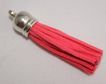 Set of 2 tassels for jewelry in silver cap and light red suede 6 x 1, 2 cm