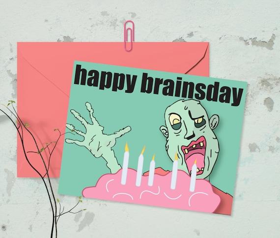 Zombie birthday card zombie apocalypse greeting card zombie birthday card zombie apocalypse greeting card birthday card zombie birthday brains creepy cute the walking dead zombie dead bookmarktalkfo Images